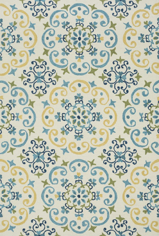 Image of Ivory and Light Blue Rug