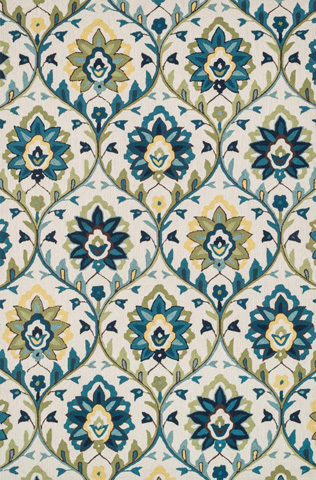 Image of Ivory and Blue Rug