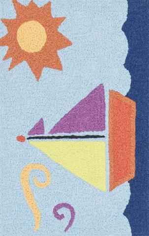 Image of Light Blue and Orange Rug