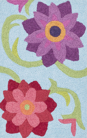 Loloi Rugs - Light Blue and Berry Rug - HAN07 LT. BLUE / BERRY