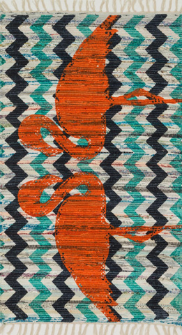 Image of Aqua and Orange Rug