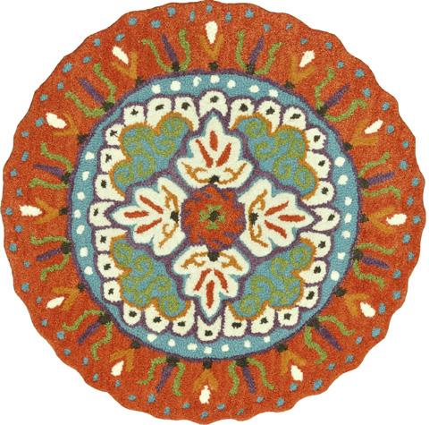 Image of Orange and Ivory Rug