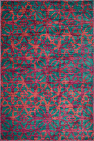Image of Dark Teal and Multi Rug