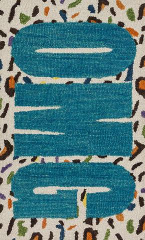 Image of Cheetah and Blue Rug