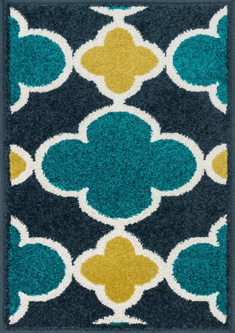 Image of Navy and Teal Rug