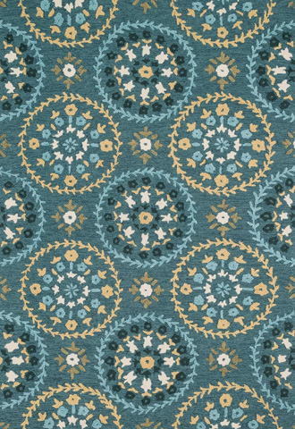 Image of Teal and Gold Rug
