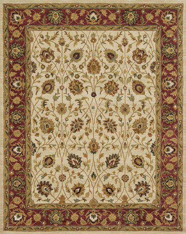 Image of Ivory and Red Rug