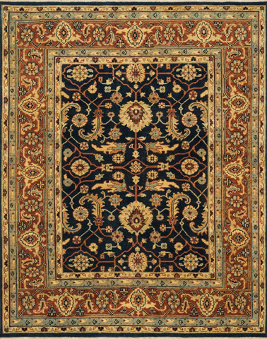 Image of Dark Navy and Rust Rug