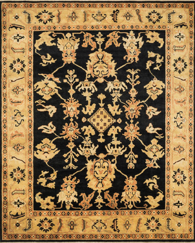 Image of Black and Light Gold Rug