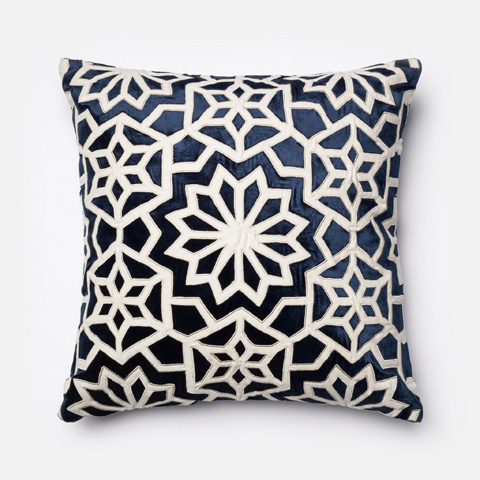Loloi Rugs - Navy and Ivory Pillow - P0022 NAVY / IVORY