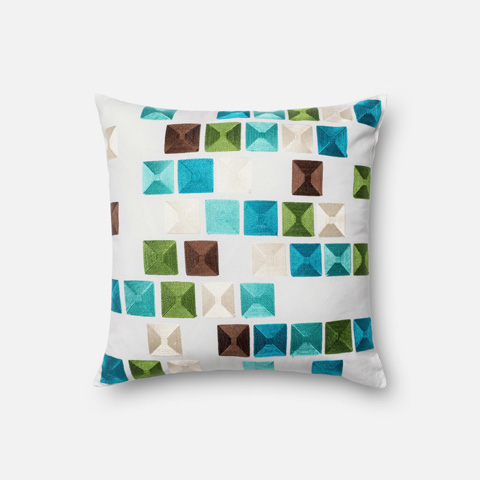 Loloi Rugs - Blue and Multi Pillow - P0063 BLUE / MULTI
