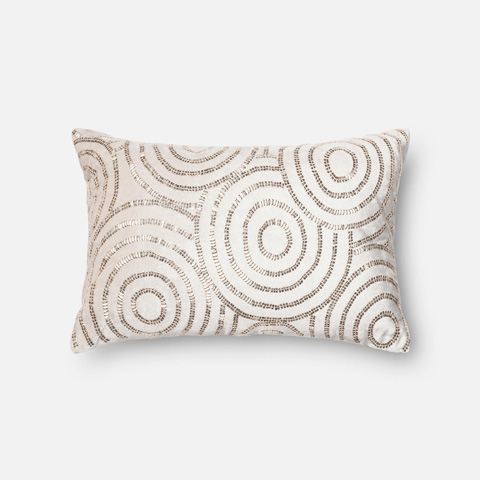 Loloi Rugs - Beige and Silver Pillow - P0110 BEIGE / SILVER
