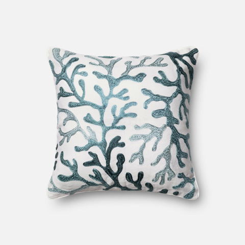 Image of Ivory and Blue Pillow
