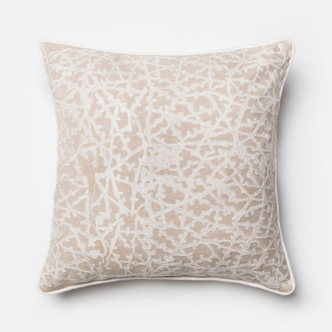 Loloi Rugs - Beige and White Pillow - P0149 BEIGE / WHITE