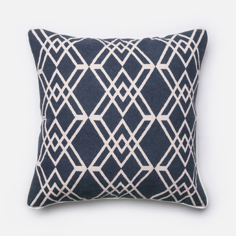 Loloi Rugs - Navy and Ivory Pillow - P0176 NAVY / IVORY