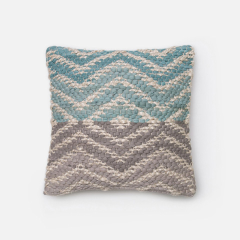 Loloi Rugs - Blue and Grey Pillow - P0184 BLUE / GREY