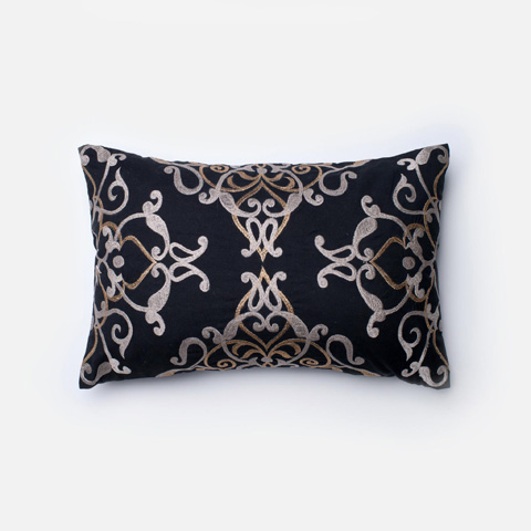Loloi Rugs - Black and Taupe Pillow - P0202 BLACK / TAUPE