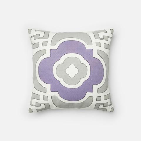Loloi Rugs - Grey and Plum Pillow - P0218 GREY / PLUM