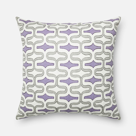 Loloi Rugs - Grey and Plum Pillow - P0220 GREY / PLUM