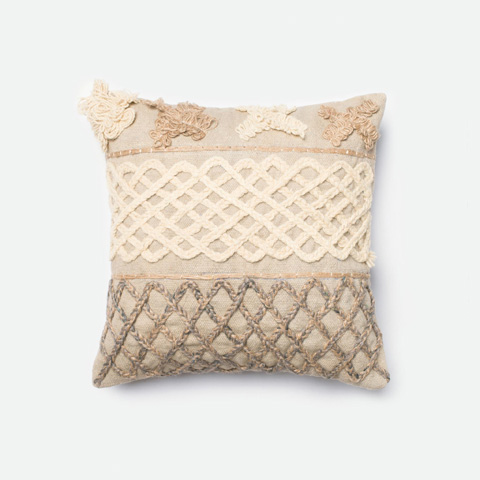 Loloi Rugs - Beige and Brown Pillow - P0233 BEIGE / BROWN