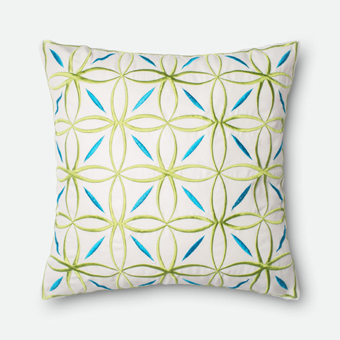 Loloi Rugs - Green and Blue Pillow - P0255 GREEN / BLUE