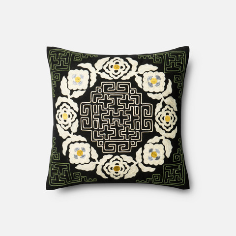 Loloi Rugs - Black and Ivory Pillow - P0296 BLACK / IVORY