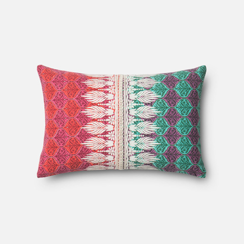 Loloi Rugs - Pink and Green Pillow - P0313 PINK / GREEN