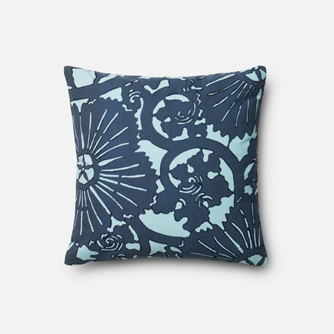 Loloi Rugs - Blue and Blue Pillow - P0319 BLUE / BLUE