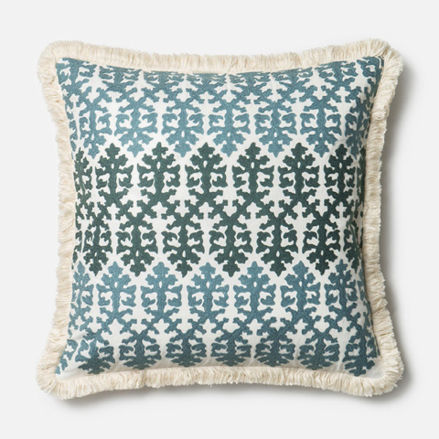 Loloi Rugs - Blue and White Pillow - P0321 BLUE / WHITE