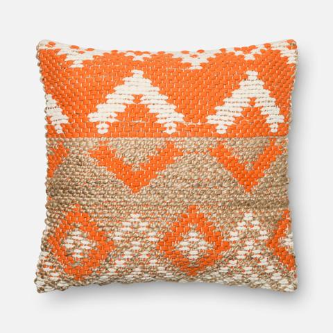 Loloi Rugs - Orange and Beige Pillow - P0334 ORANGE / BEIGE