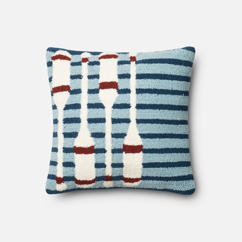Loloi Rugs - Navy and Red Pillow - P0355 NAVY / RED