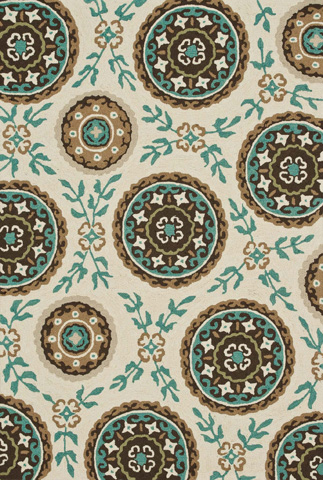 Image of Ivory and Teal Rug