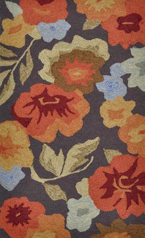Image of Dark Brown and Floral Rug