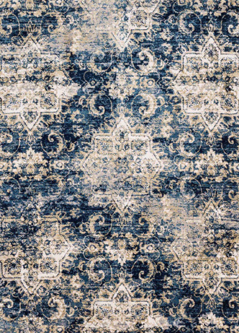Image of Navy and Ivory Rug