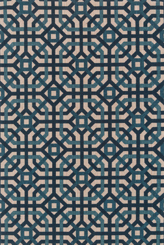 Image of Natural and Teal Rug