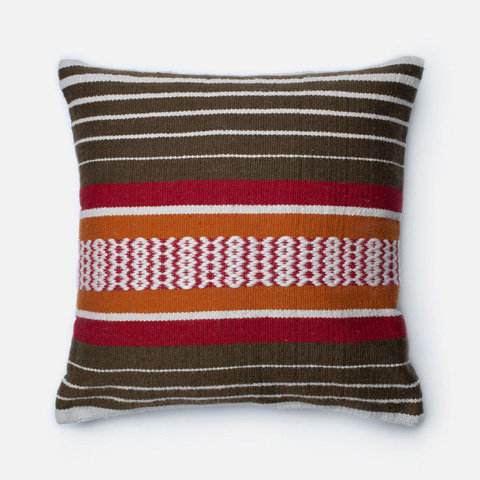 Image of Brown and Multicolor Pillow