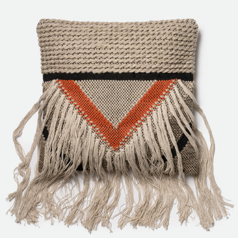 Image of Beige and Orange Pillow