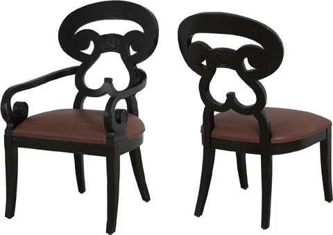 Lorts - Upholstered Seat Arm Chair - 9605