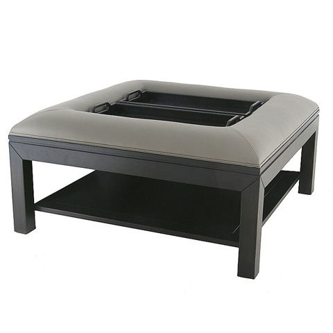 Lorts - Square Cocktail Ottoman with Trays - 9759