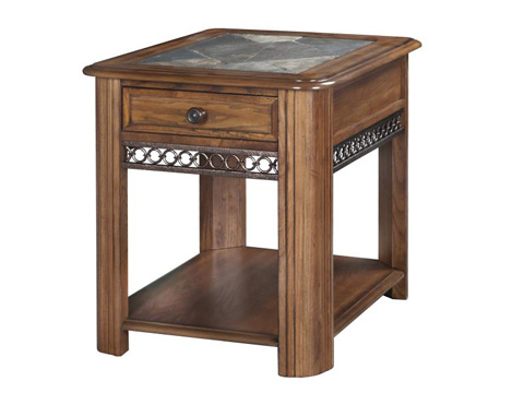 Magnussen Home - Madison Rectangular End Table w/ Stone Top - T1125-03