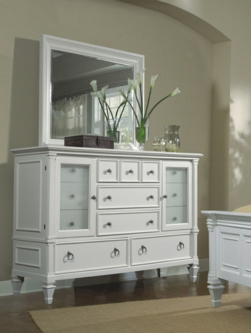 Magnussen Home - Ashby Patina White Dresser with Landscape Mirror - 71925/71950