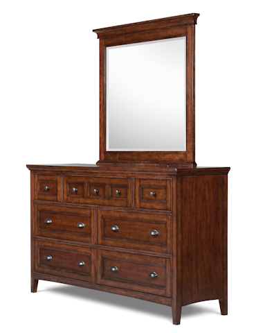 Image of Cherry Double Dresser with Landscape Mirror