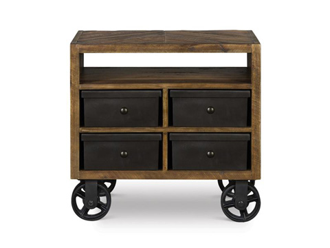 Image of Drawer Nightstand with Casters