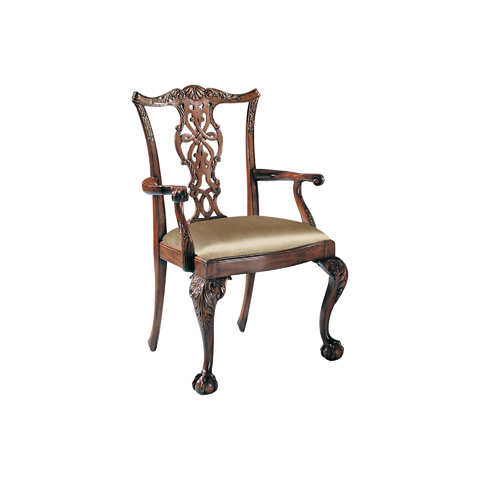 Image of Chippendale Arm Chair with Cabriole Leg