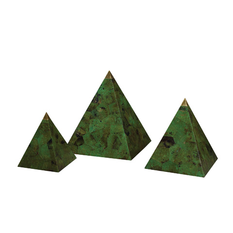 Maitland-Smith - Set of Three Emerald Green Pyramids - 1000-477
