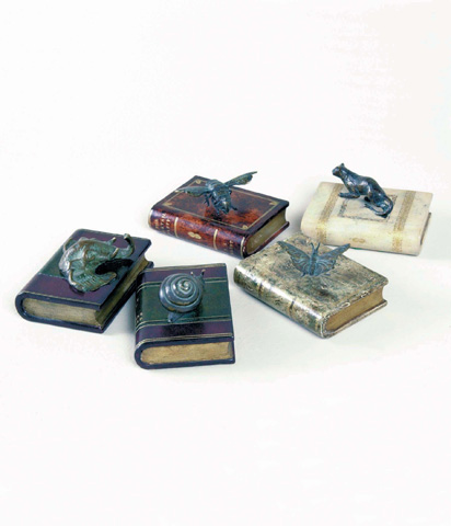 Maitland-Smith - Set of Five Leather Book Paperweights - 1020-024