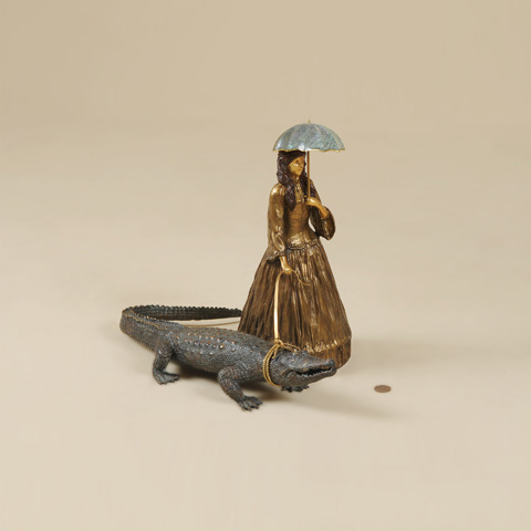 Maitland-Smith - Cast Brass Lady Walking Alligator - 1054-281
