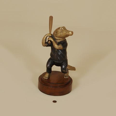 Maitland-Smith - Cast Brass Alligator Playing Baseball - 1054-282