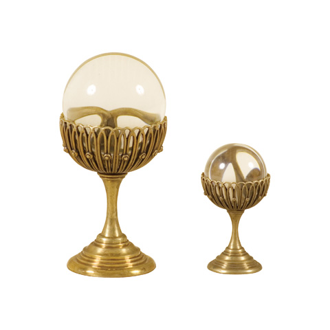 Maitland-Smith - Set of Two Glass Spheres on Stands - 1054-989