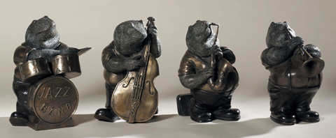 Maitland-Smith - Set of Four Frog Band Figures - 1058-276